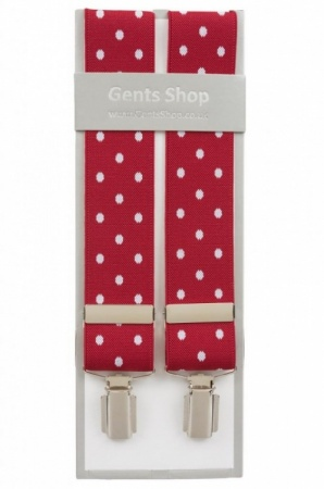 Red Trouser Braces with Large White Polka Dot Design